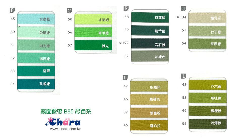 日本進口霧面緞帶B85色卡-綠色系